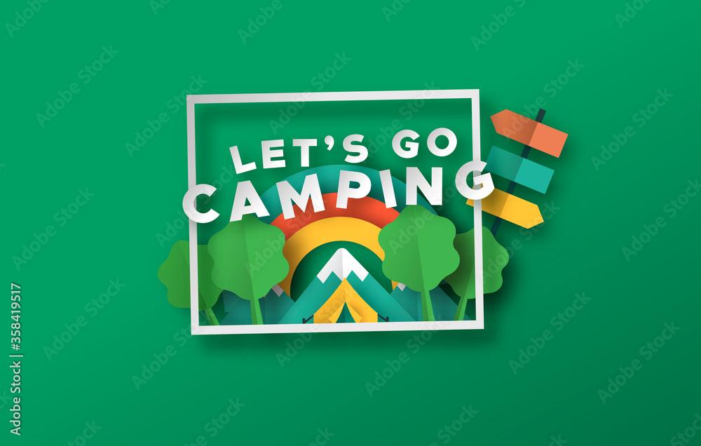 Fototapeta Let's go camping travel papercut forest frame