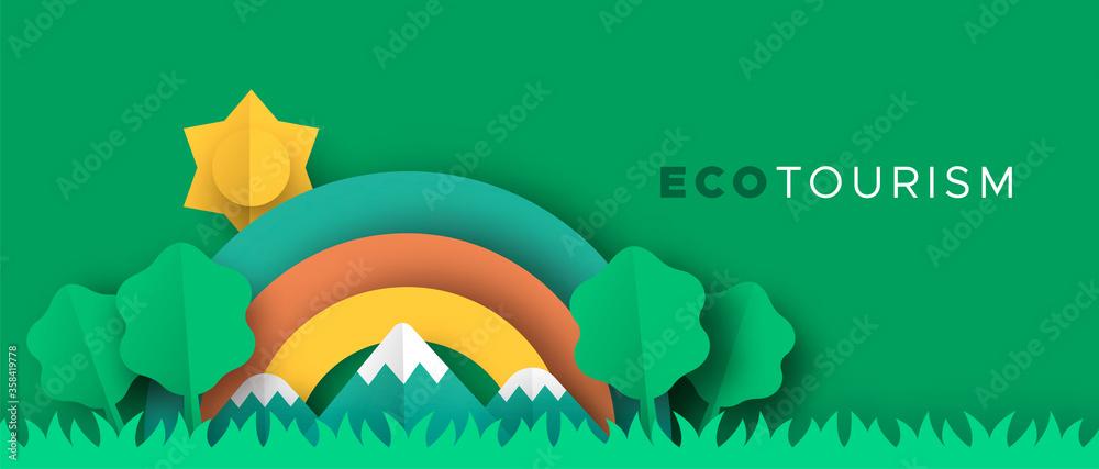 Fototapeta Eco tourism papercut banner of nature landscape