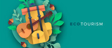 Eco Tourism Papercut Backpack And Guitar Banner