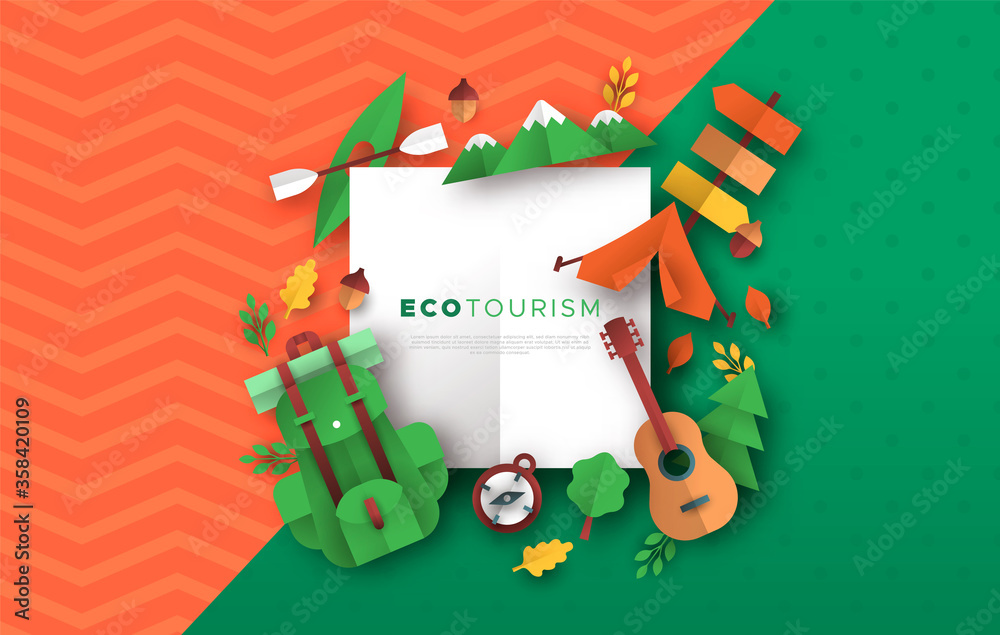 Fototapeta Eco tourism papercut template of camping icons