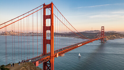 Golden Gate Bridge With Sail Boat