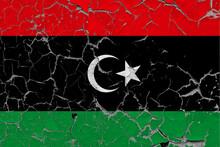 Libya Flag Close Up Grungy, Da...