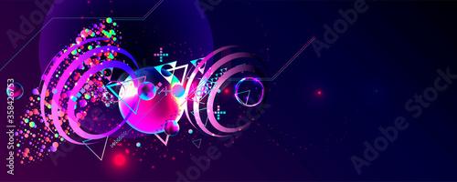 Fototapeta Dark retro futuristic art neon abstraction background cosmos new art 3d starry s