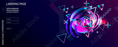 Dark retro futuristic art neon abstraction background cosmos new art 3d starry sky glowing galaxy and planets blue circles - 358426780