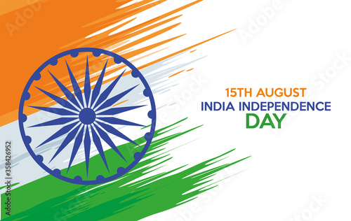 India independence day celebration with ashoka chakra and flag painted Wallpaper Mural