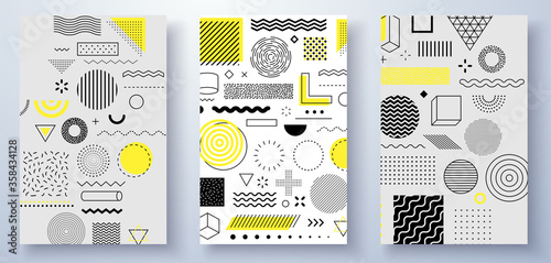 Fototapeta Universal trend halftone geometric shapes set juxtaposed with bright bold yellow elements composition. Design elements for Magazine, leaflet, billboard, sale obraz