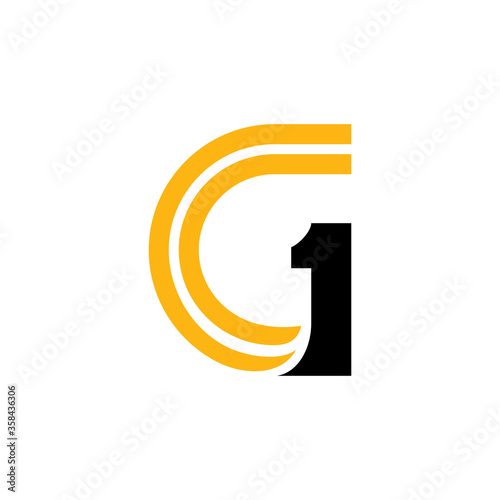 Fototapeta G1 logo concept, Logo concept of letter G combination with number one, Simple fl