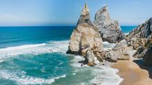 Sand Beach Among Rocks On Even...