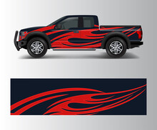 Truck And Car Graphic Background Wrap And Vinyl Sticker Design Vector