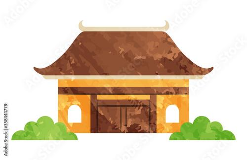 illustration of building in temple Wallpaper Mural
