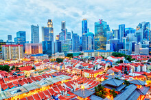 Singapore Chinatown With Downt...
