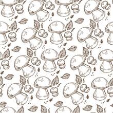 Puffball Mushroom With Leaves, Mushrooming Season Seamless Pattern