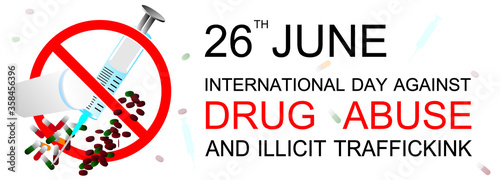 International day against drug abuse and illicit trafficking banner Canvas Print