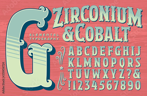Vászonkép An Ornate Alphabet in a Circus or Carnival Sign Painter Style