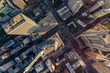 High angle aerial view of Chicago Downtown buildings with antennas