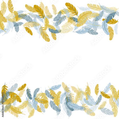 Obraz na plátně Flying feather elements airy vector design.