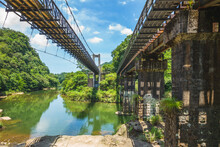 """Scenery Of Pingxi District In Taipei, Taiwan. The Translation Of The Chinese Text Is """"guanpu Suspension Bridge"""", Means Waterfall-viewing Bridge."""