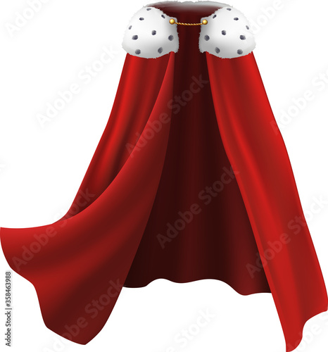 Fotografía 3d realistic cape in red with white fur and golden details