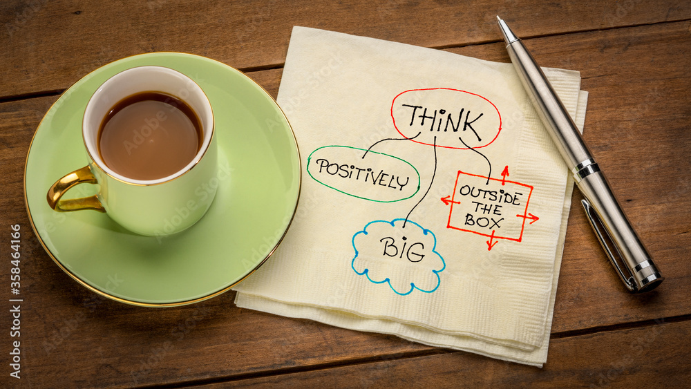 Fototapeta think positively, big and outside the box - motivational napkin doodle placed on wooden table with espresso coffee cup, business, education, personal development concept