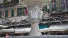 Slowly Passing The Cansignorio Sculpted Base Of The Fountain Of Madonna Verona, Italy, Slow Motion