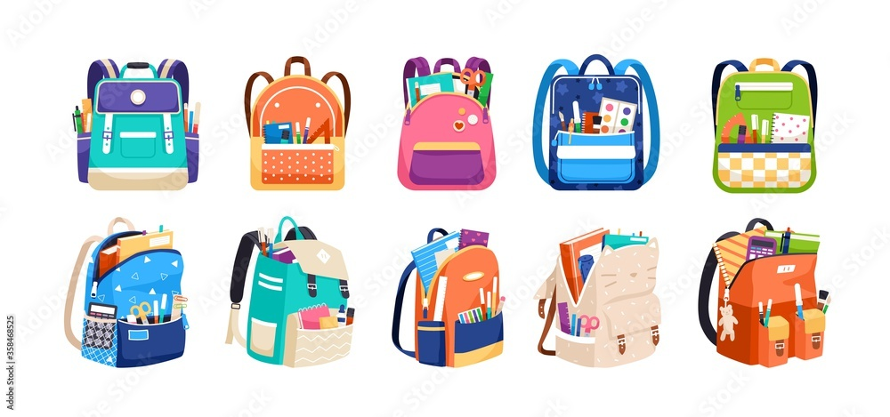 Fototapeta Set of childish school backpacks and schoolbags vector illustration. Collection of various kids bags with stationery, notebooks and textbooks isolated on white. Stylish accessories different shapes