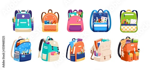 Fototapeta Set of childish school backpacks and schoolbags vector illustration. Collection of various kids bags with stationery, notebooks and textbooks isolated on white. Stylish accessories different shapes obraz