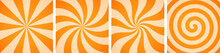 Set Of Sweet Orange Candy Abstract Vector Backgrounds
