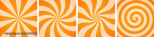 Fototapeta Set of sweet orange candy abstract vector backgrounds obraz