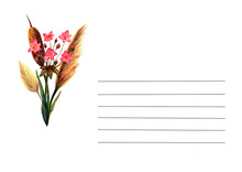 Botanical Greeting Card Template. Swamp Flowers. Watercolor.