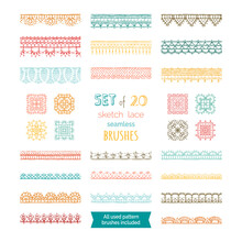 Vector Set Of 20 Sketch Lace S...