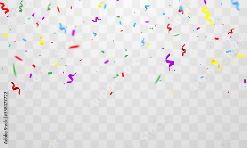Fototapeta confetti and colorful ribbons. Celebration background template with obraz na płótnie
