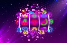Jackpot Slots Neon Icons, Casino Slot Sign Machine, Night Vegas.
