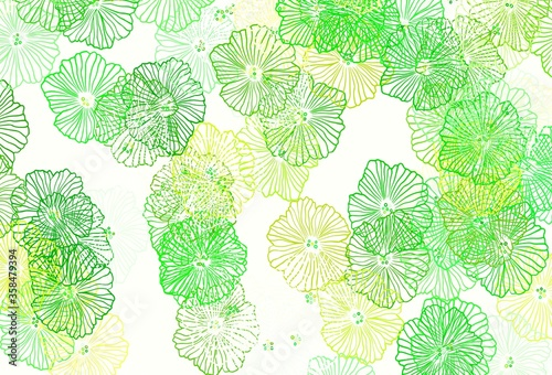 Light Green, Yellow vector elegant pattern with leaves. #358479394