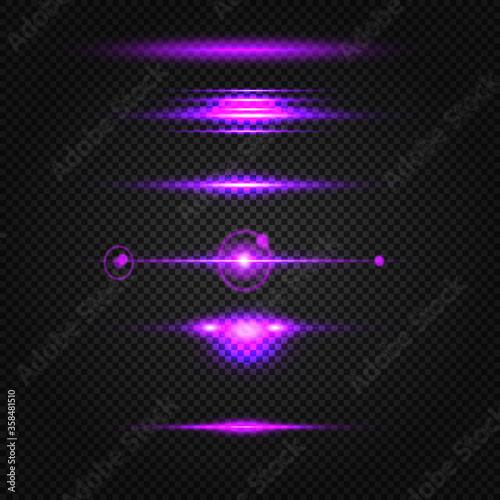 Glowing purple, pink light effects isolated on transparent background Slika na platnu
