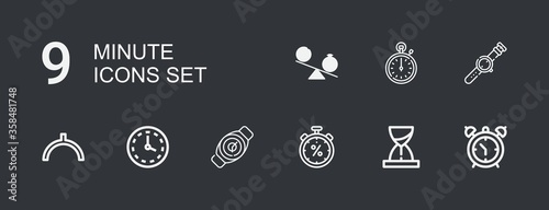 Editable 9 minute icons for web and mobile Fototapete