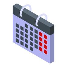 Foreign Language Calendar Icon. Isometric Of Foreign Language Calendar Vector Icon For Web Design Isolated On White Background