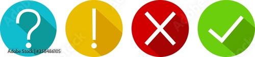 Obraz Set of round marks, cross, exclamation and question point, checkmark icons, buttons on white background. - fototapety do salonu