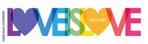 Leinwand Poster LOVE IS LOVE vector rainbow-colored typography banner with heart symbol