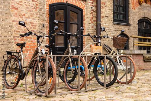 Obraz na plátně Bike tour of the old castle Mir. Belarus.