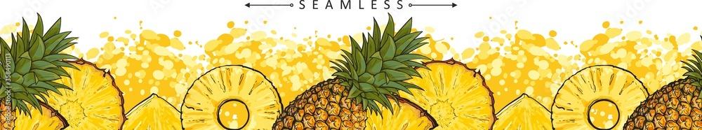 Fototapeta Summer pineapple or ananas seamless pattern sketch vector illustration isolated.