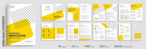 Obraz na plátně Brochure template layout design, Corporate multipage minimalist business profile template layout