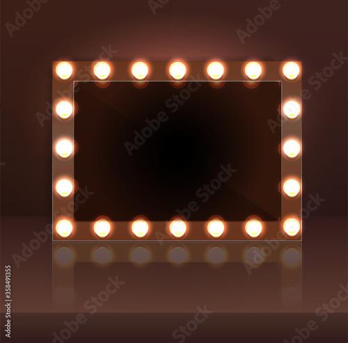 Fotografía Luxury dark makeup blank mirror realistic with bulb light effect in wall background