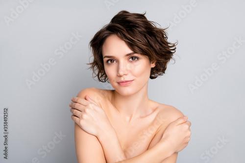 Fototapeta Closeup photo of beautiful naked lady model bobbed short hairstyle positive emot