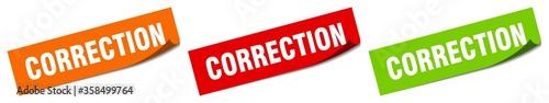Obraz correction sticker. correction square isolated sign. correction label - fototapety do salonu