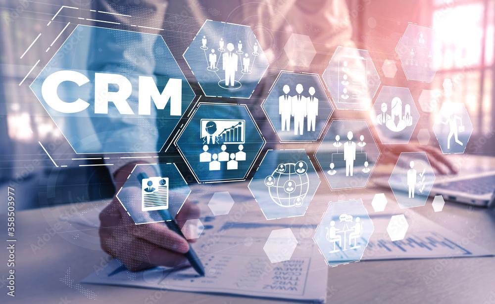 Fototapeta CRM Customer Relationship Management for business sales marketing system concept