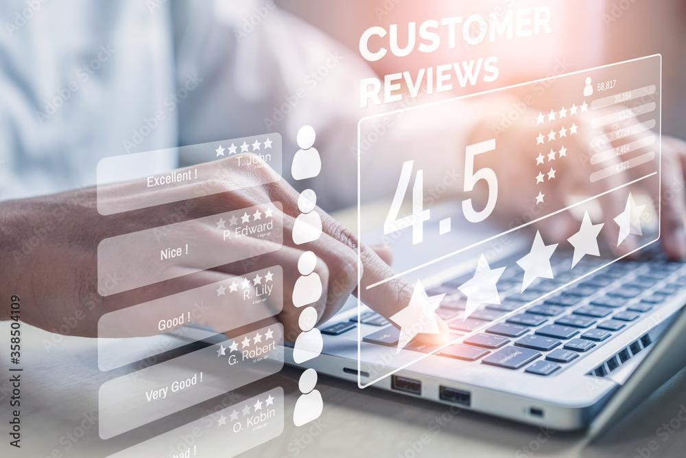 Fototapeta Customer review satisfaction feedback survey concept.