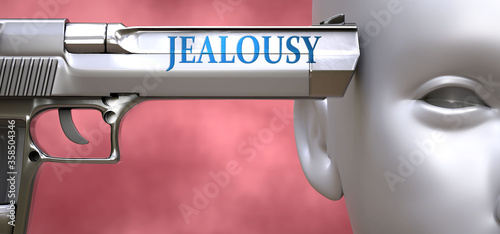 Obraz na plátně Jealousy can be dangerous or deadly for people - pictured as word Jealousy on a