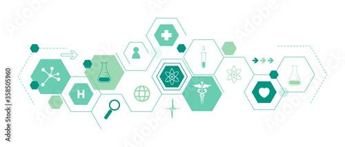 Obraz na plátne icone, mediche, farmaceutica, struttura esagonale, salute