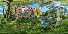 Full Seamless Spherical Hdri Panorama 360 Degree Angle View Near The Ruins Of An Old Water Mill And Fast River In Equirectangular Projection, Ready For VR AR Virtual Reality Content
