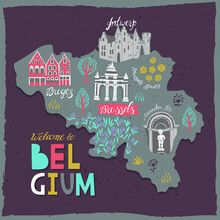 Illustrated Map Of Belgium. Landmarks And National Symbols Of The Country